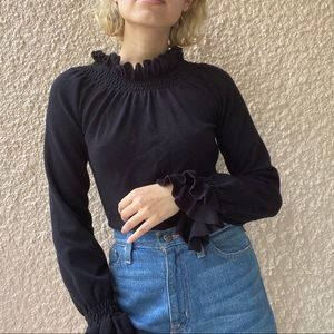 Black Ruffle Long Sleeve Shirt